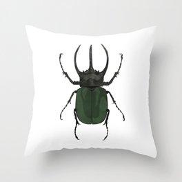 Atlas Beetle Insect Digital Watercolor Throw Pillow