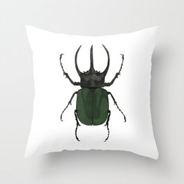 Atlas Beetle Insect Digital Watercolor Throw Pillow