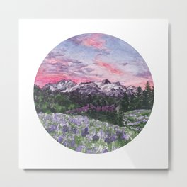 Purple Skies with Mountains and Fields Watercolour Landscape Painting Metal Print