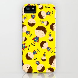 Cute Cartoon Heroic Superhero Pattern iPhone Case