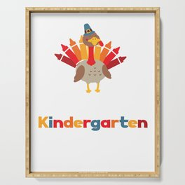 Thankful for Kindergarten Turkeys Thanksgiving Teacher Serving Tray