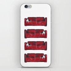 cat in a red sofa  iPhone & iPod Skin