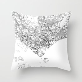 Singapore White Map Throw Pillow