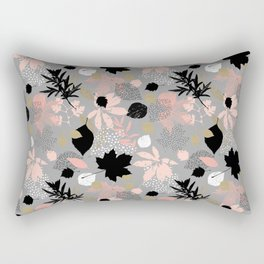 Abstract maple leaves autumn in pink and gray colors Rectangular Pillow