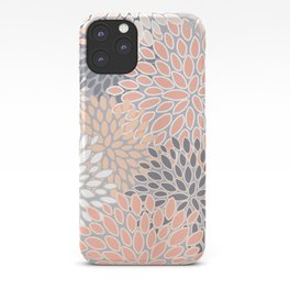 Flowers Abstract Print, Coral, Peach, Gray iPhone Case