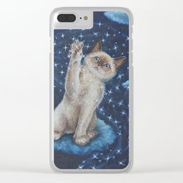 The cat the Moon and the Stars Tale Clear iPhone Case