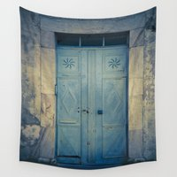 door Wall Tapestries featuring Blue Door II by Maria Heyens