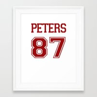 evan peters Framed Art Prints featuring Evan Peters Varsity by NameGame