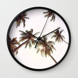 Palm Trees And Pink Sky Wall Clock