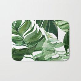 Green leaf watercolor pattern Bath Mat