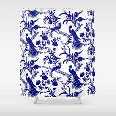 Royal french navy peacock Shower Curtain