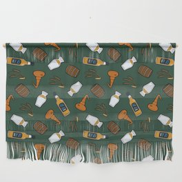 Whisky Pattern in Dark Green Wall Hanging