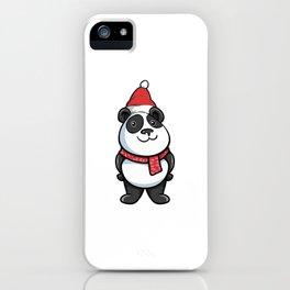 Cute Christmas Panda Santa Hat Panda Lover iPhone Case