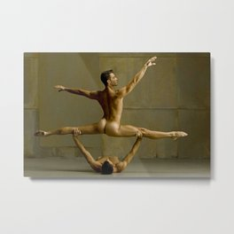 Gay Naked Gymnasts, Fit sculptured young bodies Metal Print
