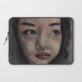 Art, watercolor portrait asian girl Laptop Sleeve