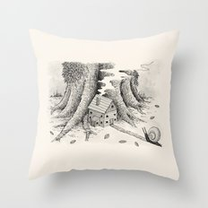 'A Visitor' (Grey) Throw Pillow