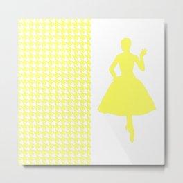 Lemonade Modern Houndstooth w/ Fashion Silhouette Metal Print