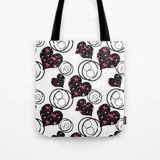 Love. Abstract floral pattern with hearts . Tote Bag