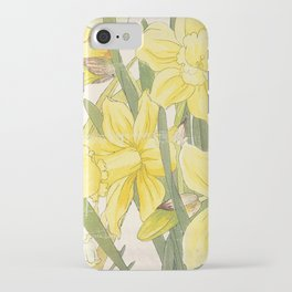Vintage Floral Paper:  Spring Flowers on Shabby White -Daffodils iPhone Case
