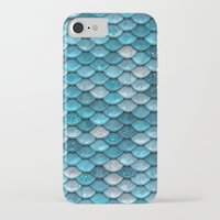 bisexual iPhone & iPod Cases featuring light turquoise sparkling scales by Better HOME