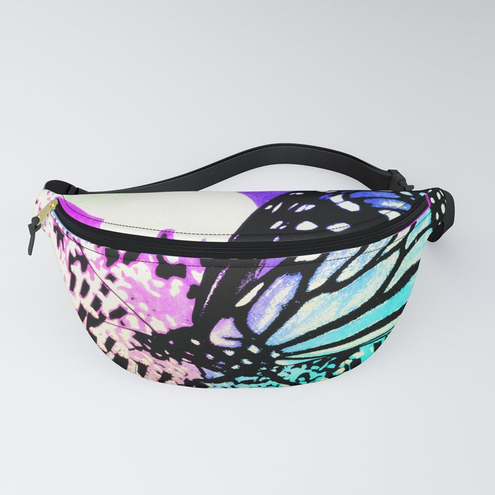 Beautiful Butterfly Sitting on a Flower with Colorful Background Fanny Pack