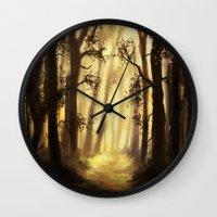 forrest Wall Clocks featuring The forrest by Richard Eijkenbroek