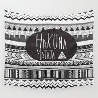 hakuna Wall Tapestries featuring HAKUNA MATATA  by Vasare Nar