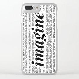 imagine - Ariana - imagination - lyrics - white black Clear iPhone Case