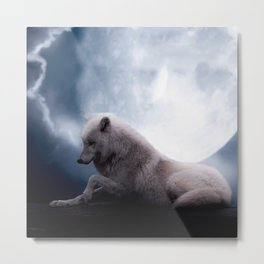 Awesome Wolf and Moon White Wolf Metal Print