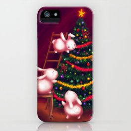 Chubby bunnies decorate the tree iPhone Case