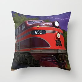 Rock Island Rocket Streamliner Passenger Train in Night Thunderstorm Throw Pillow