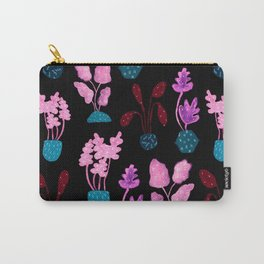 Painted Postmodern Potted Plants in Black Carry-All Pouch