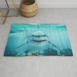 A predator great white shark swimming in the ocean Rug