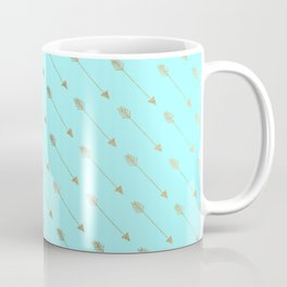 Modern teal faux gold bohemian chic arrow pattern Coffee Mug