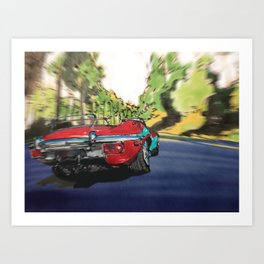Red car on a sunny day Art Print