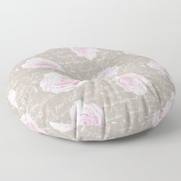 Watercolor roses on Taupe with French script Floor Pillow