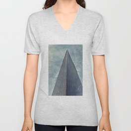 Plane Flying Above Skyscraper Unisex V-Neck