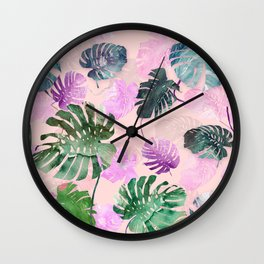 Tropical Leves on Pink Wall Clock