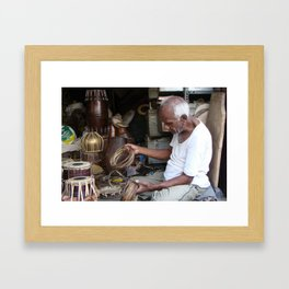 Old musical instrument repair shop - Streets of India Framed Art Print