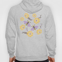Honey Bees and Flowers - Yellow and Lavender Purple Hoody