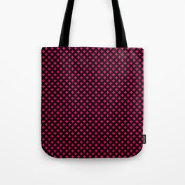 Small Hot Neon Pink Crosses on Black Tote Bag
