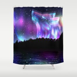 Northern landscape with howling wolf spirit and aurora borealis Shower Curtain
