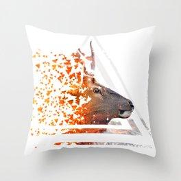 Caution Deer by GEN Z Throw Pillow