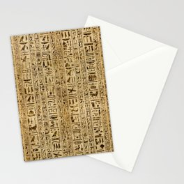 Egyptian hieroglyphs on papyrus Stationery Cards