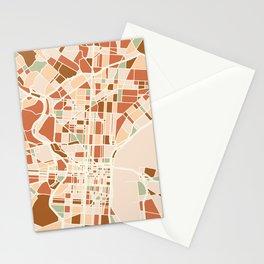 PHILADELPHIA PENNSYLVANIA CITY MAP EARTH TONES Stationery Cards