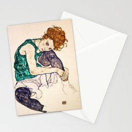 Egon Schiele - Seated Woman With Legs Drawn Up Stationery Cards