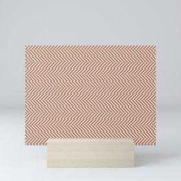 Cavern Clay SW 7701 and Creamy Off White SW7012 Hypnotic Stripe Pattern Mini Art Print