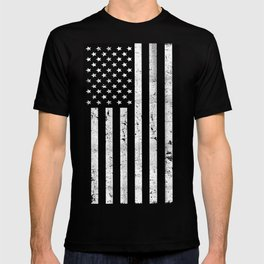 Dirty Vintage Black and White American Flag T-shirt