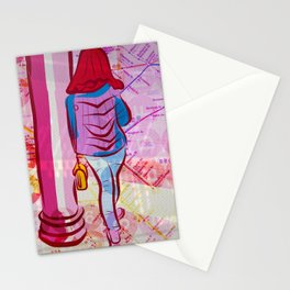 Waiting for the Subway Stationery Cards