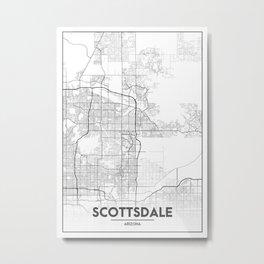 Minimal City Maps - Map Of Scottsdale, Arizona, United States Metal Print